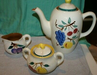 VINTAGE Stangl Pottery Coffee Pot COVERED Sugar AND  Creamer Fruit PATTERN