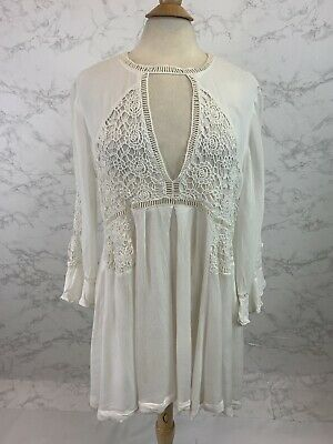 7d817ea098ad FREE PEOPLE I Think I Love You Dress With Cut Work Long Sleeve White ...