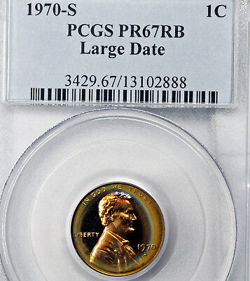 1970-S PR67 RB Lincoln Memorial Cent 1c Proof, PCGS Graded PF67, Rainbow Toned!