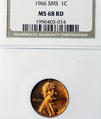 1966 SMS MS68 Lincoln Memorial Cent 1c, NGC Graded SP68, Scratches on Holder