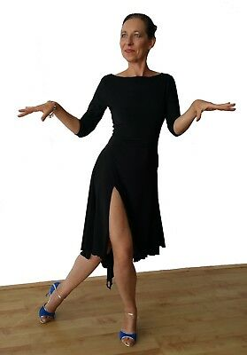 Stretchy Argentine Tango Practice Dress With 3/4 Sleeves & Two Slits. Black