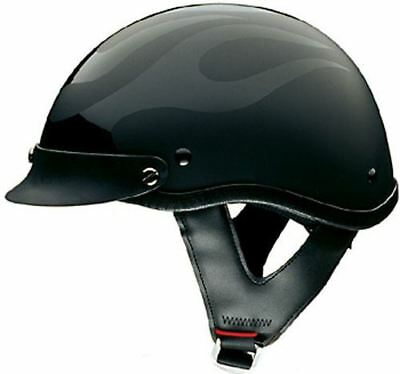 adf1c40a HCI 100 Half Helmet Motorcycle Shorty (Flat Flame) with Visor DOT Approved  XS