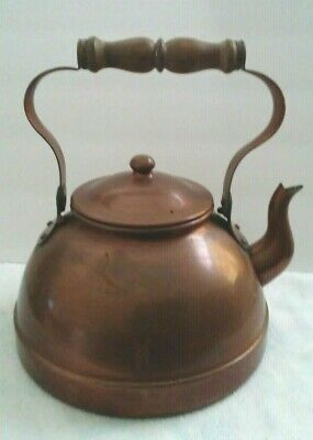 Vintage Copper Teakettle Tagus Portugal Wood Handle R52 Great Patina