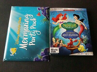 Disney The Little Mermaid 2 & 3 blu ray DVD Combo with slip cover and Party Pack