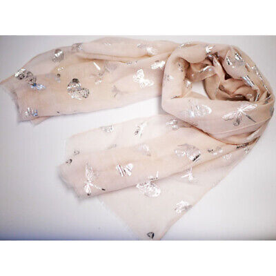 Large Cotton Feel Fashion Metallic Design Soft Women Ladies Shawl Wrap Scarf