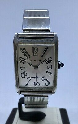 VINTAGE 1930's STERLING SILVER ROLEX ART DECO TANK UNICORN EXPLODED DIAL WATCH