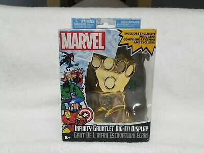 Dented Box  Marvel Infinity Gauntlet Dig It Display w Soul Gem Stone New Thanos