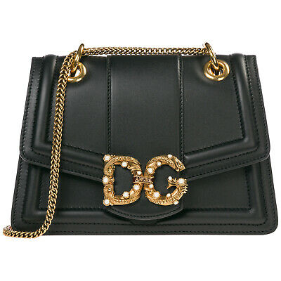 Dolce&Gabbana Women's Leather Shoulder Bag New Original Dg Amore Black 031