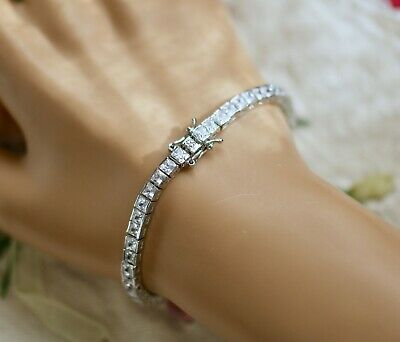 Vintage Jewellery Gold Tennis Chain Bracelet With White Sapphires Dress Jewelry