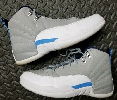 8526d782c231ef Nike Air Jordan 12 XII Retro UNC Wolf Grey University Blue 130690-007 Size  12