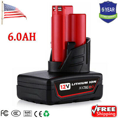 For Milwaukee M12 Max Lithium XC 6.0 Extended Capacity Battery 6.0Ah 48-11-2460