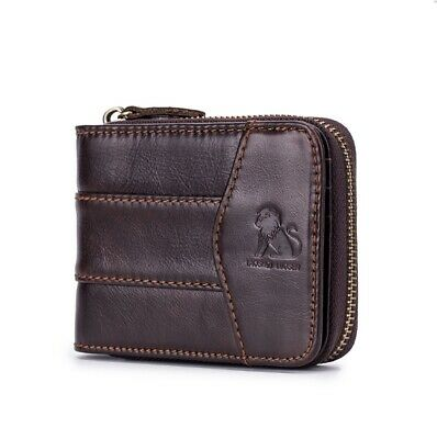 Genuine Leather Billfold Wallet Credit Card Coin Holder Zipper Clousure Purse