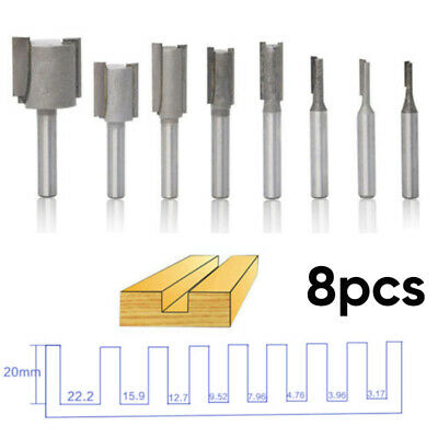 8pcs 1/4inch Shank Straight Router Bit Carbide Woodworking Milling Cutter Tools