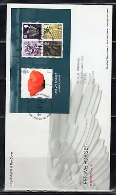 2008  Great Britain Stamps Fdc Cover First Day Issue Lest We Forget Lot 5953