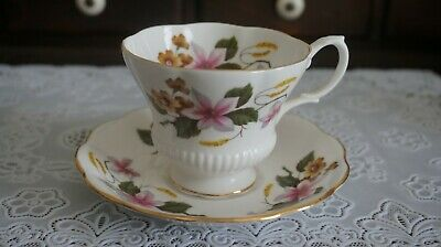 VINTAGE Royal Albert Bone China Floral Footed Cup & Saucer, England