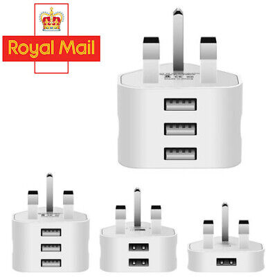 UK Mains Wall 3 Pin Plug Adaptor Charger Power 3 USB Ports for Phones Tablets DD
