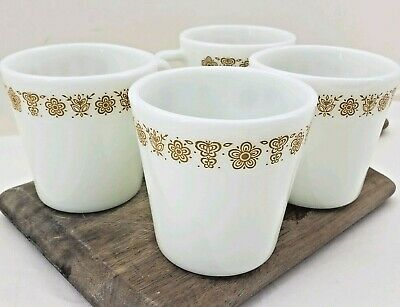 SET OF 4 Vintage PYREX Corning Corelle Butterfly Gold D-Handle Coffee Mug Cup