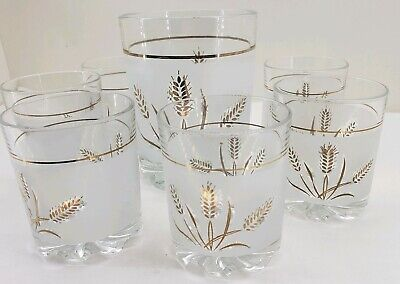 Mid century italy bar set frosted wheat whiskey old fashion glasses, ice bucket