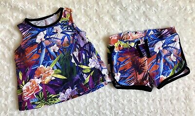 River Island Mini Girls Age 12-18 Months Summer Set Outfit Top+short Botanic Pat