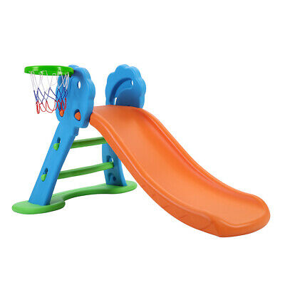 Keezi Kids Slide with Basketball Hoop with Ladder Base Outdoor Indoor Playground
