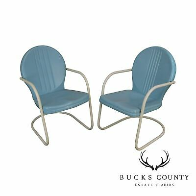 Art Deco Style 1940's Vintage Pair Metal Patio Lawn Chairs