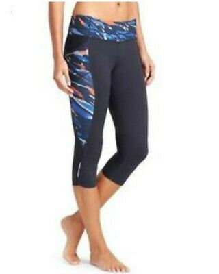 72e788dbfb091 Athleta Splice Fire Be Free Knicker Capri Leggings Size Small Navy Blue EUC