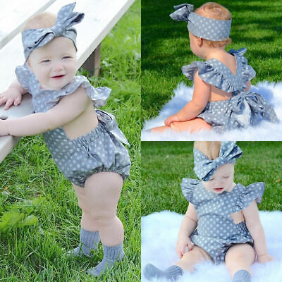 Newborn Baby Girl Summer Ruffle Solid Romper Bodysuit Jumpsuit Outfit Clothes