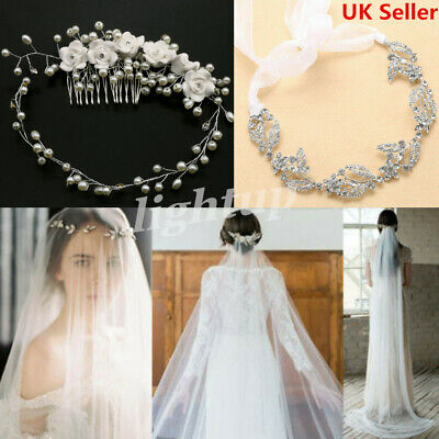 Bridal Pearls Vine/ Crystal Tiara Hair Headpiece, Cathedral Plain Veil Cut Edge