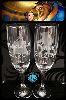 Handmade Personalised DISNEY BEAUTY & THE BEAST Wedding Gift Champagne Flutes