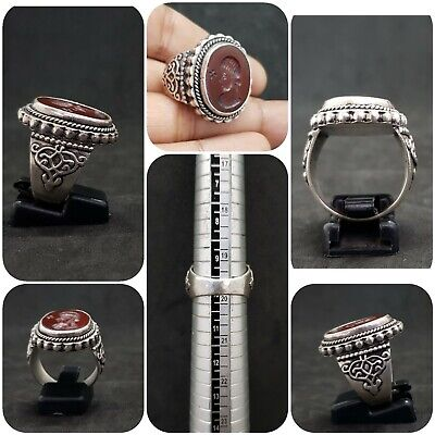 Beautiful Solid Silver Unique Ring With Queen Intaligo Red Agate Stone # K23