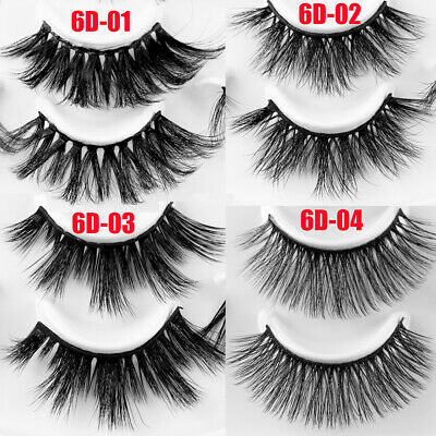 SKONHED 7 Pairs 25mm 6D Mink Hair False Eyelashes Thick Wispy Fluffy Lashes A+