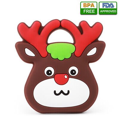 Baby Silicone Teether Deer Animal Infant Teething Chew Soft Toy BPA-free