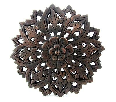 """Teak Wood Wall Carving Round Flower Thai Carved Wooden Plaque Relief Panel 12"""""""
