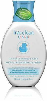 Gentle Moisture Tearless Baby Shampoo and Wash, Live Clean, 10 oz 3 pack