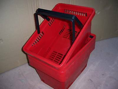 Pack of 5 Plastic Shopping Baskets Red