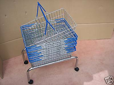 10 Wire Shopping Baskets Blue Handles & Mobile Stand
