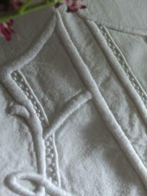 Lovely Antique French Linen Sheet with Monogram A D circa 1920 Art Deco