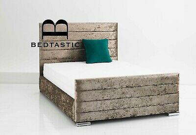 Double Bed Crushed Velvet Fabric Storage Panel Sleigh bed frame all sizes