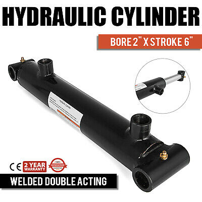 "Hydraulic Cylinder Welded Double Acting 2"" Bore 6"" Stroke Cross Tube End NEW"