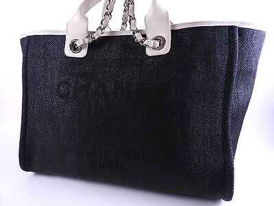 400f27554d02ad CHANEL Deauville 2way Chain Shoulder Tote Bag Canvas Black Silver A66941  A-9537
