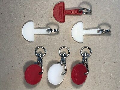 6 Shopping Trolley Keys & Tokens, 3 of each plus 3 rings & 3 clasps free postage