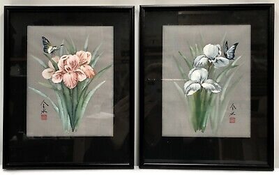 Oriental Floral & Butterfly Hand Painted Mixed Media on Silk Pair Signed