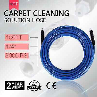 100ft Carpet Cleaning Hose 1/4 19 High Pressure Wand Cuff Connect Solution Hose