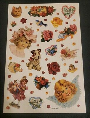 Vintage American Greetings Victorian style stickers, roses, hearts, birds, girls