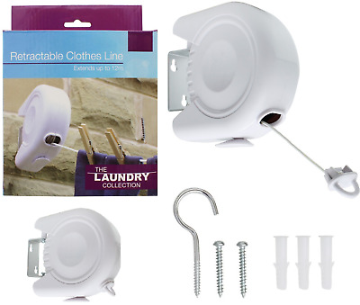 12m Retractable Clothes Washing Line Reel Wall Mounted Laundry Airer Fixings New