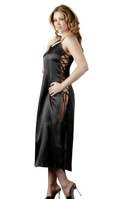 Neglige 2XL/3XL Nacht-Kleid Damen-Dessous Dessouskleid Neglige lang in Schwarz