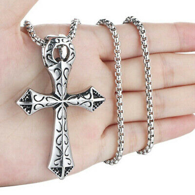 """Large Silver Ankh Cross Stainless Steel Hip Hop Pendant Necklace 24"""" Box Chain"""