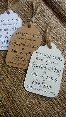 """10 Personalised Wedding Favour Gift Tags """"Thank you"""" Guest Label any message."""