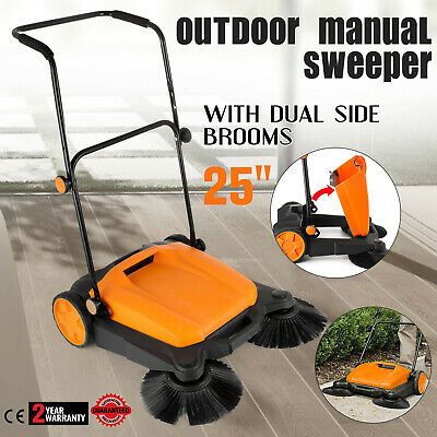 "Manual RT-650S Outdoor Push Sweeper 25""With Brooms Sweep Roads 4.2US GAL Side"