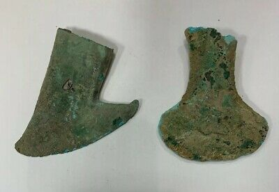 2 Pcs Vietnamese Dong Son Culture - 7th B.C. - 1st A.D. - Bronze Axe (Adze)